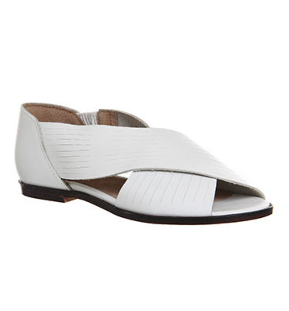 Office Deadline Cross Strap Peep Toe Shoes WHITE LEATHER