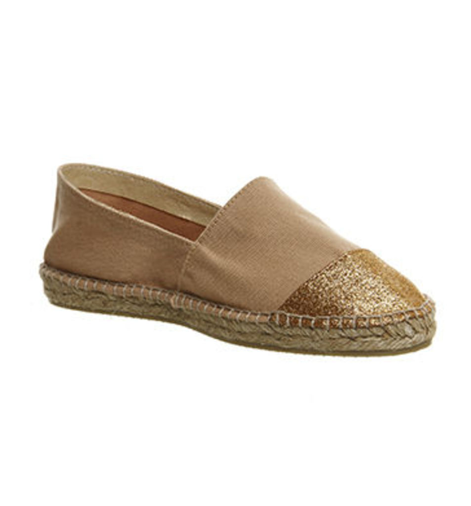 Gaimo for OFFICE Alp Espadrille BLUSH GLITTER CANVAS