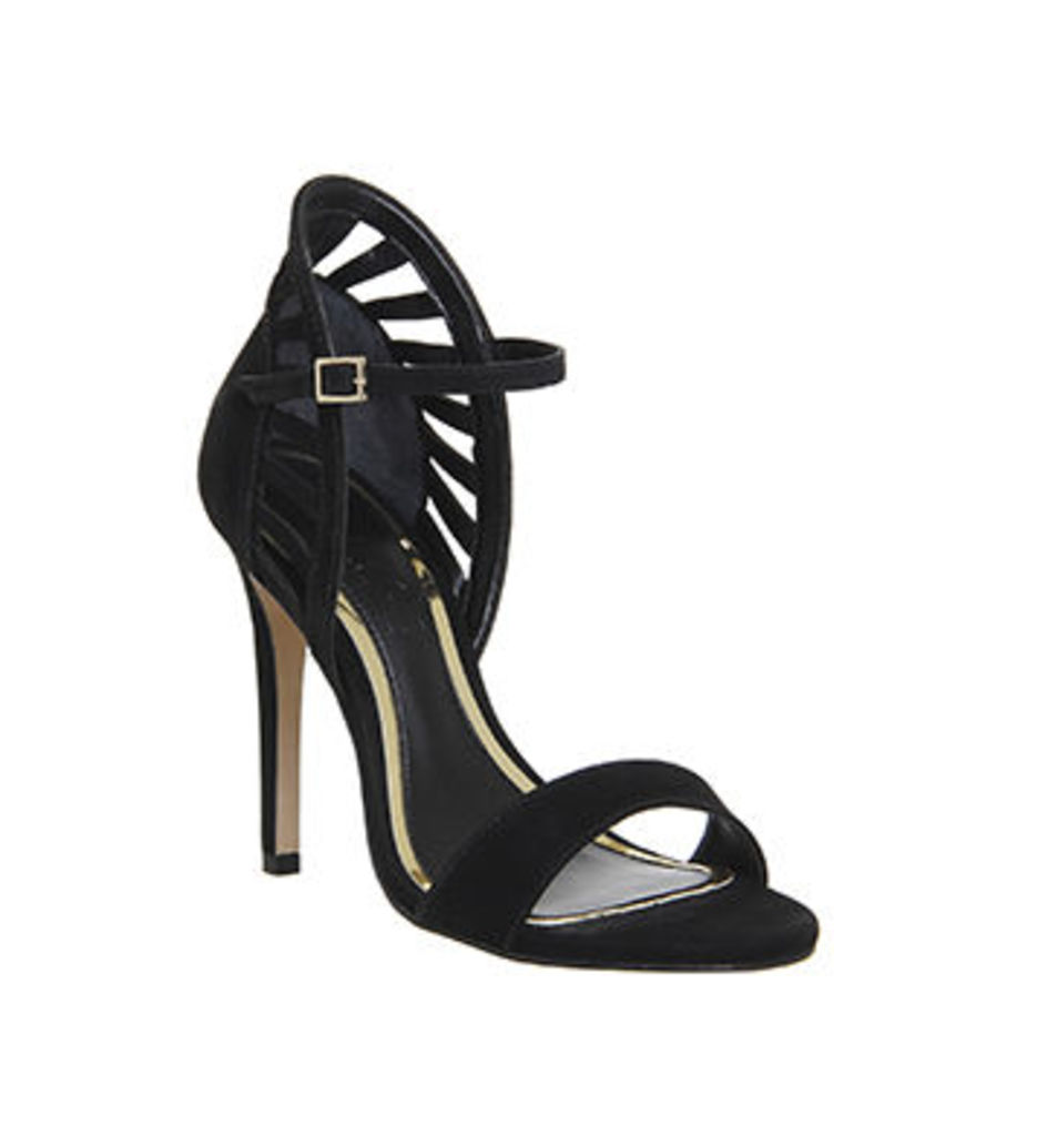 Office Awesome Back Detail Single Sole Sandal BLACK NUBUCK