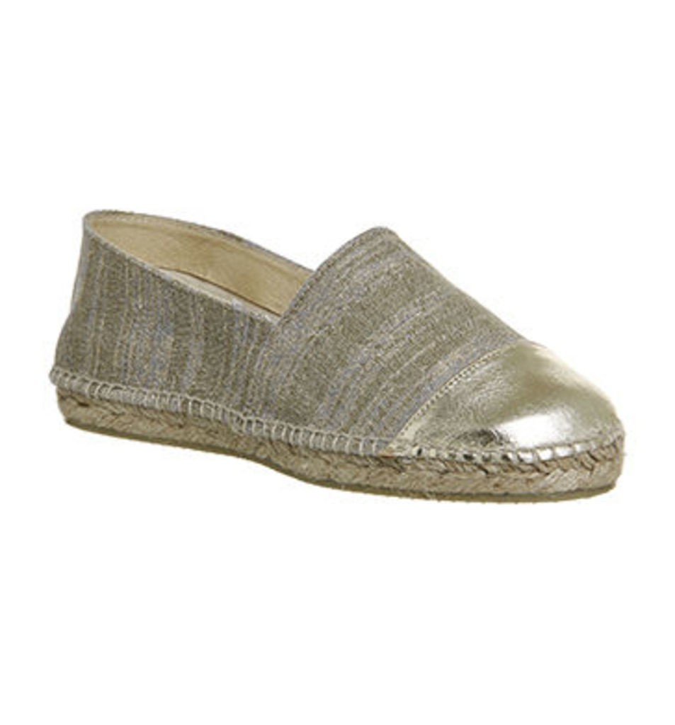 Gaimo for OFFICE Alp Espadrille METALLIC GOLD LINEN LEATHER