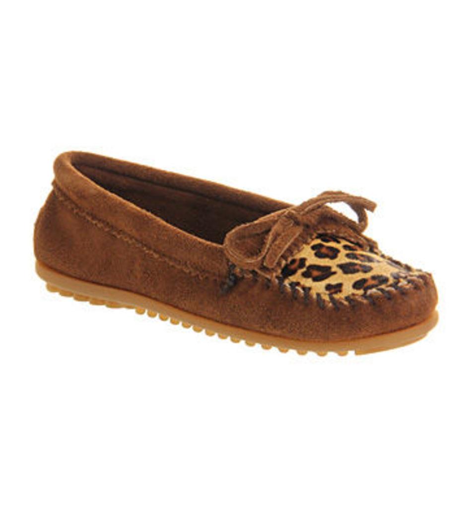 Minnetonka Leopard Kiltie Moc DUSTY BROWN SUEDE