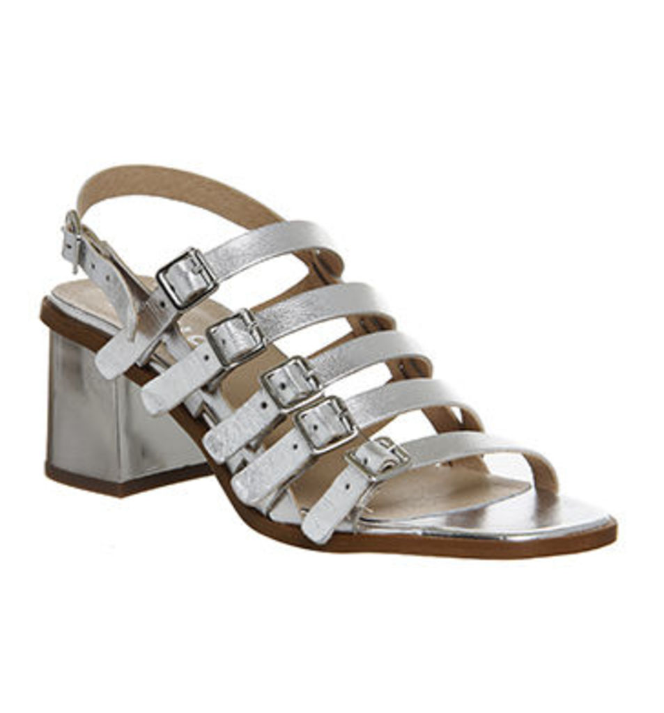 Office Manilla Strappy Multi Buckle Block Heel SILVER LEATHER