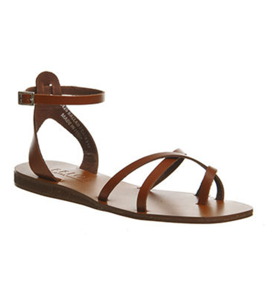 Office Ballad Square Toe Strappy Sandal TAN LEATHER