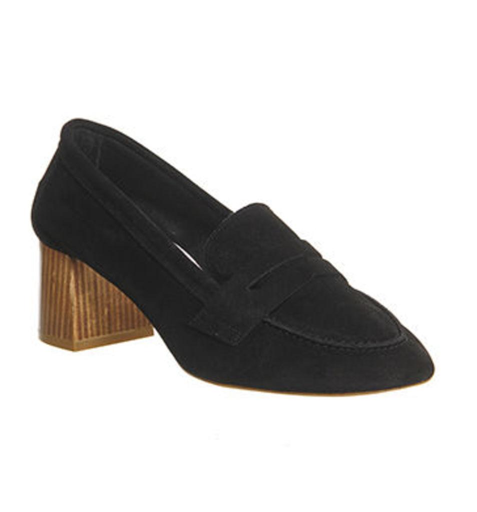 Office Mockingbird Block Heel Loafer BLACK SUEDE