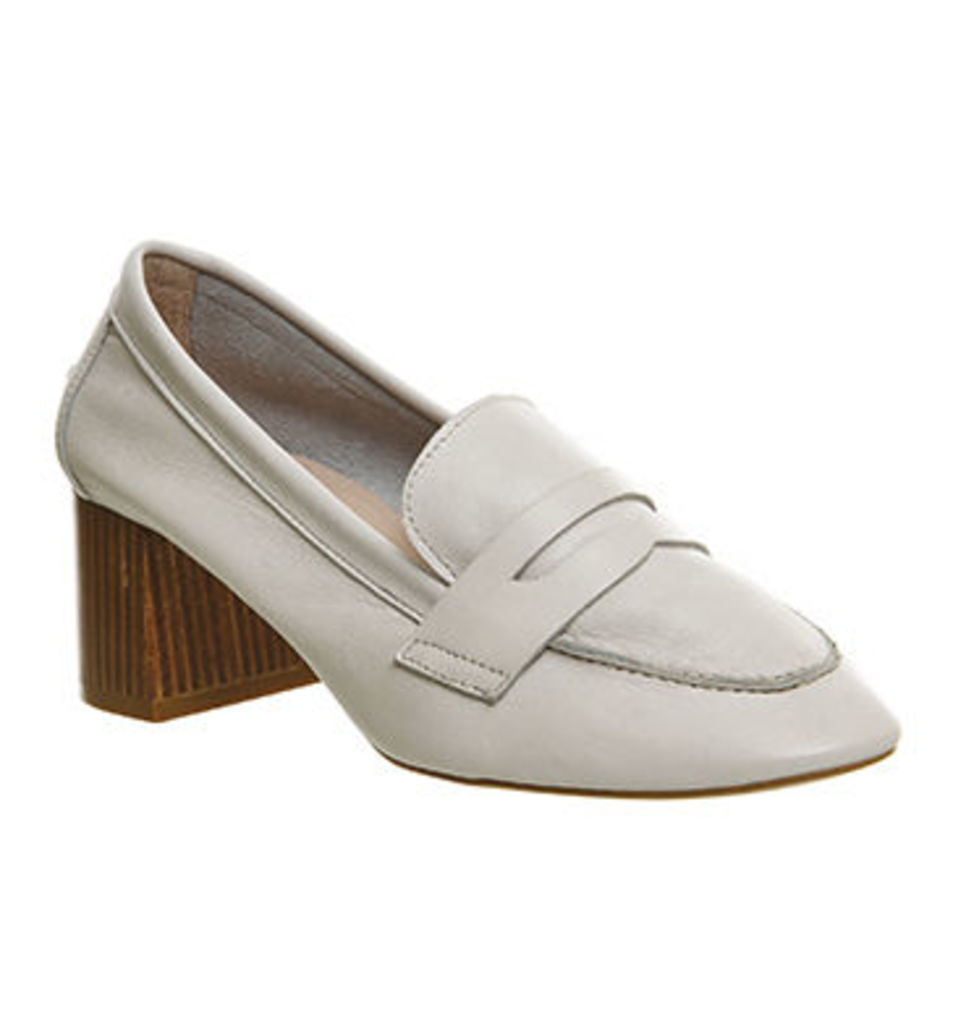 Office Mockingbird Block Heel Loafer OFF WHITE LEATHER