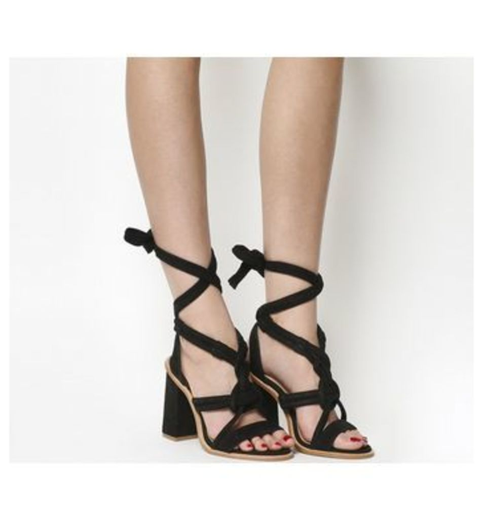 Office Ava Knotted Block Heel Sandal BLACK SUEDE