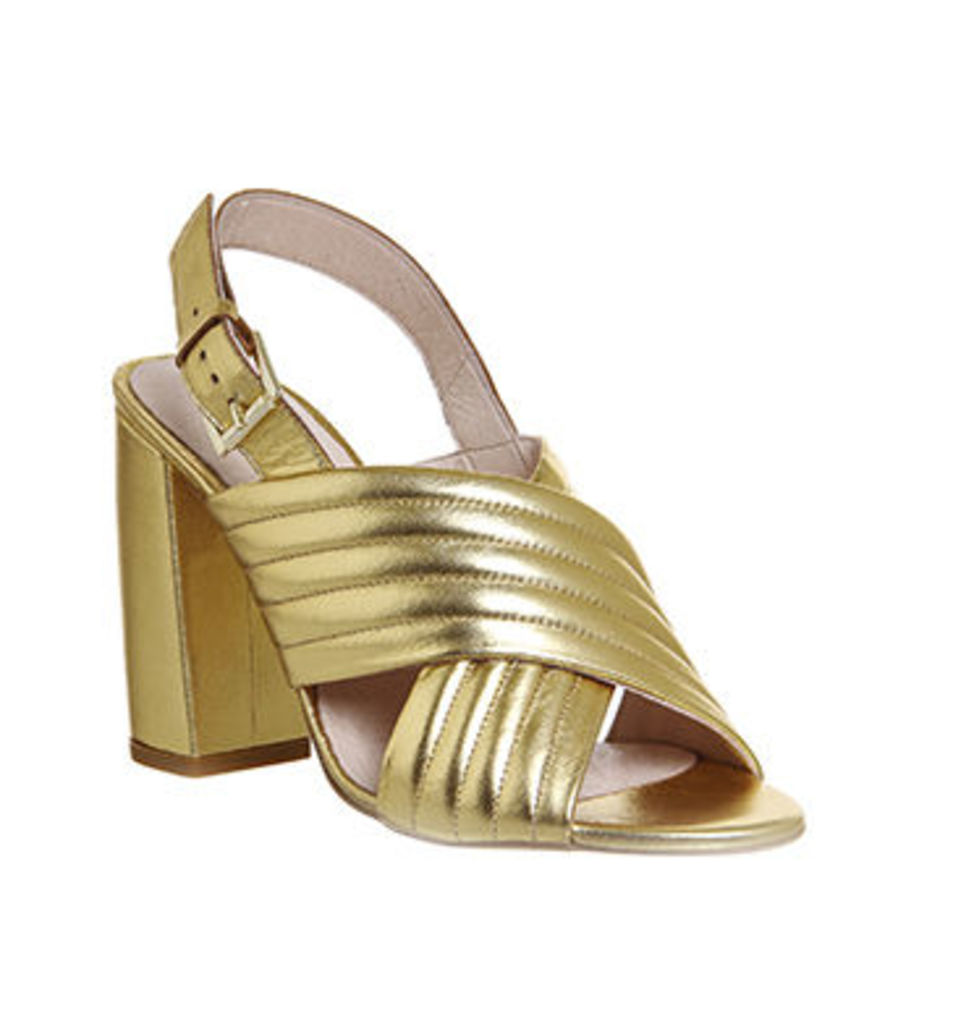 Office Americana Padded Cross Strap Block Heel GOLD METALLIC LEATHER
