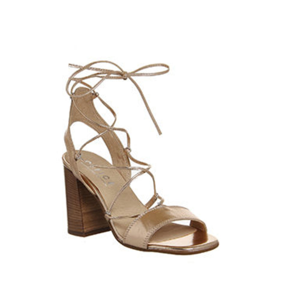 Office Antonia Lace Up Flare Heel Sandal ROSE GOLD LEATHER