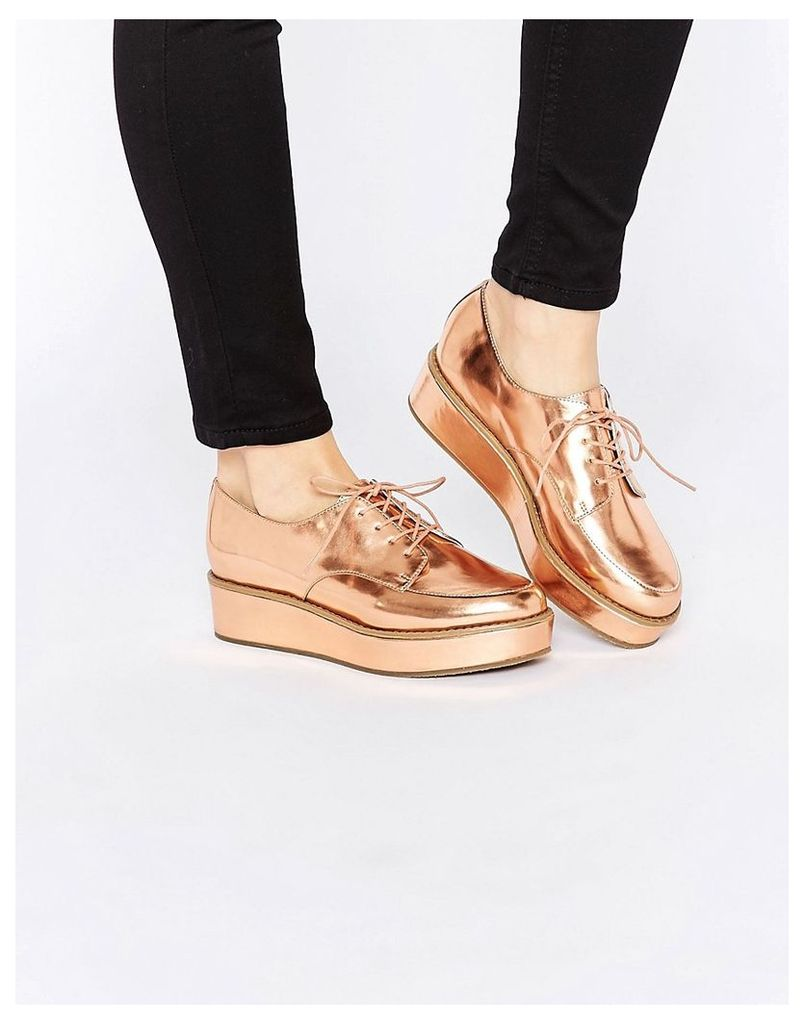 ASOS MAVIS Flatform Lace Up shoes - Nude metallic