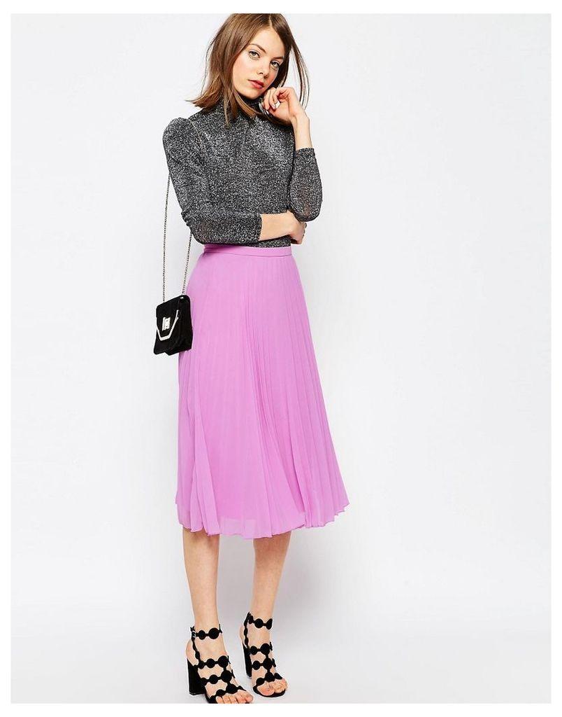 ASOS Pleated Midi Skirt - Lilac