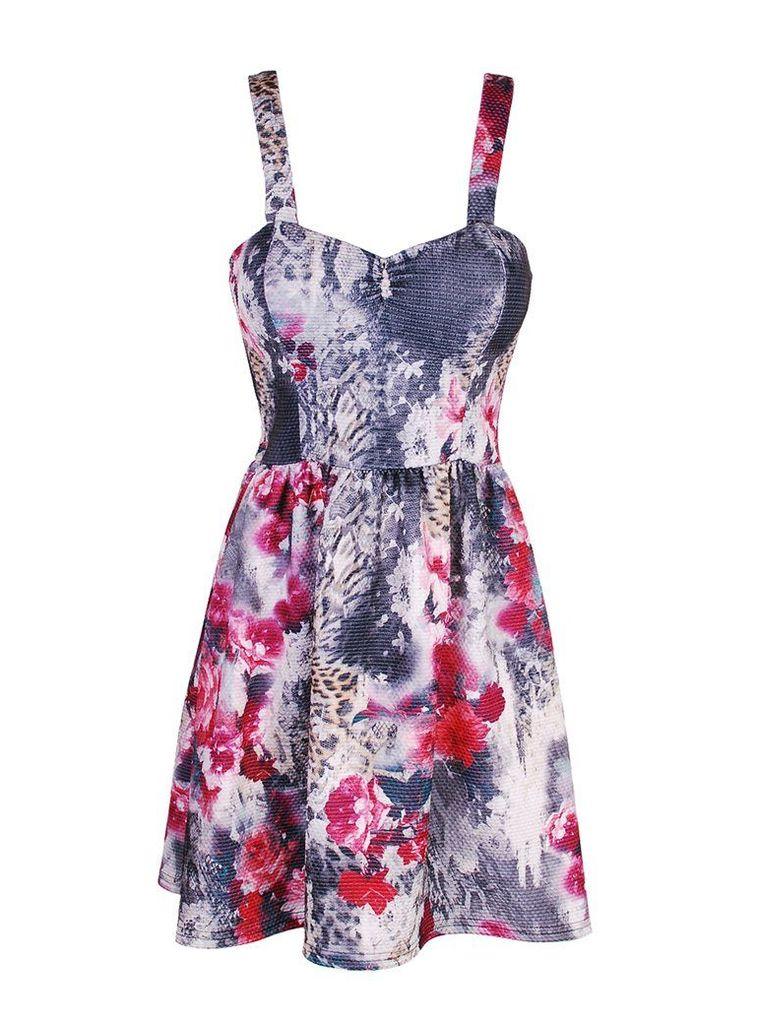 Moody Blooms Floral Skater Dress - 12UK
