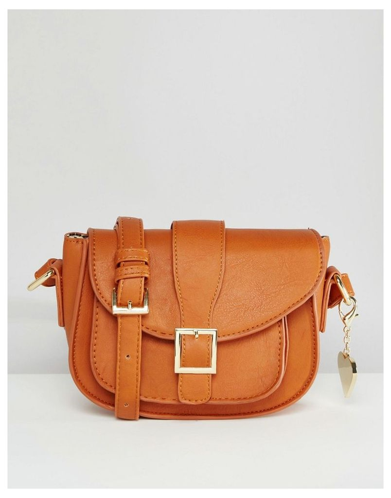 Marc B Alice Cross Body Bag With Buckle Detail - Tan