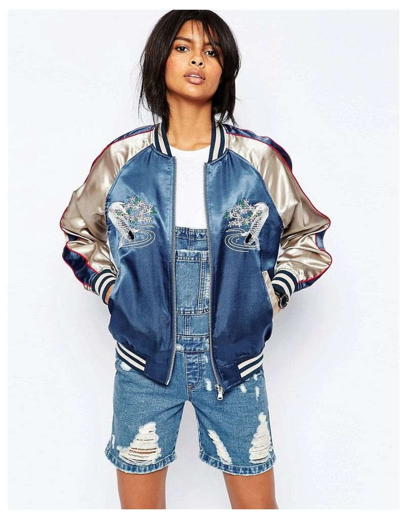 ASOS Premium Embroidered Bomber Jacket with Tipped Rib - Multi