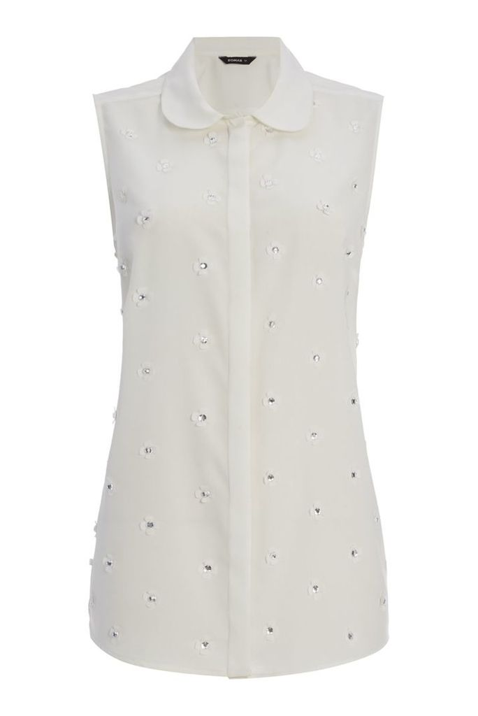 Roman Originals Laser Cut Embellished Blouse, Cream