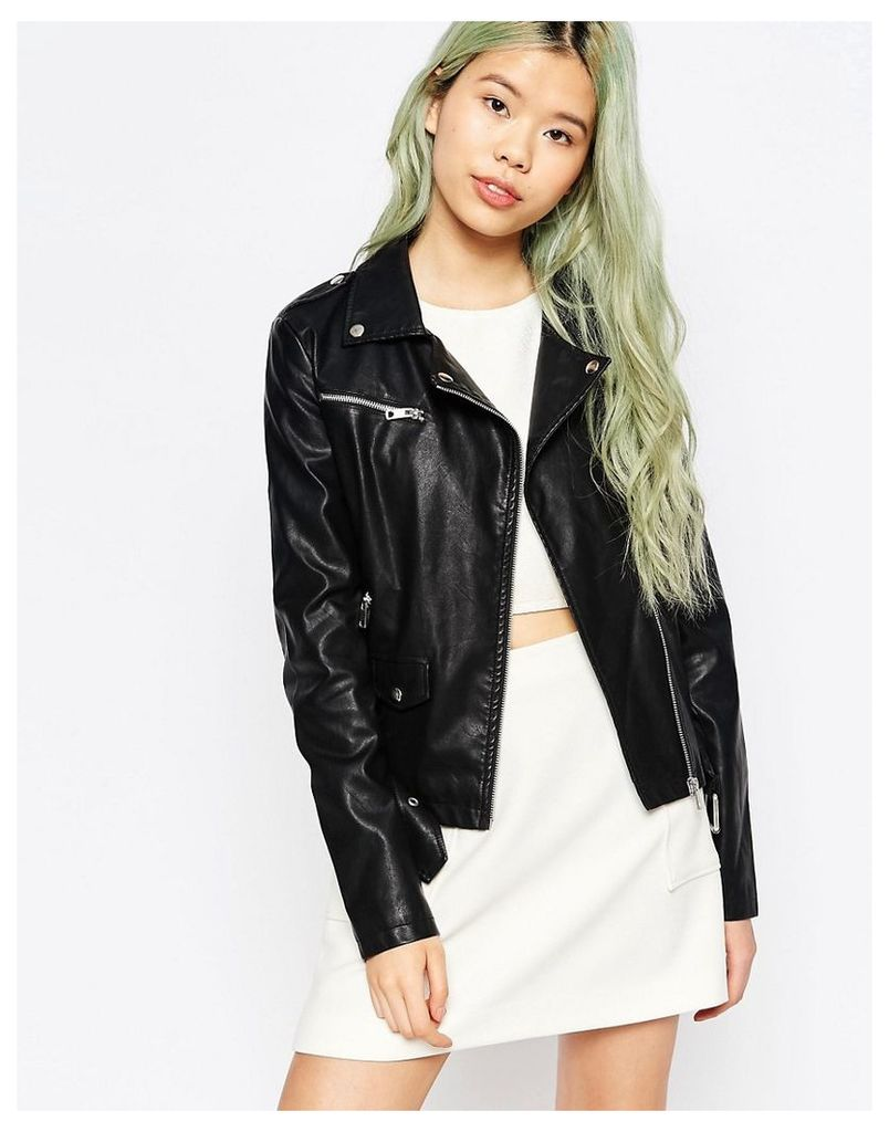 Vero Moda Risk Faux Leather Biker Jacket - Black
