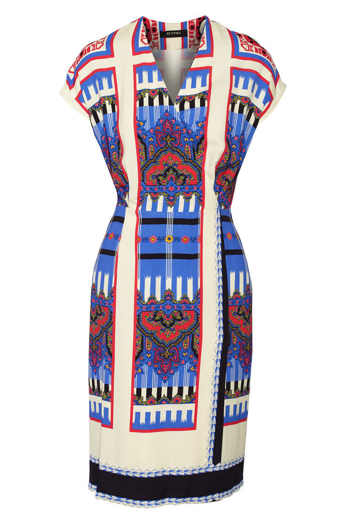 Etro - Wrap-effect Printed Crepe Dress - Blue