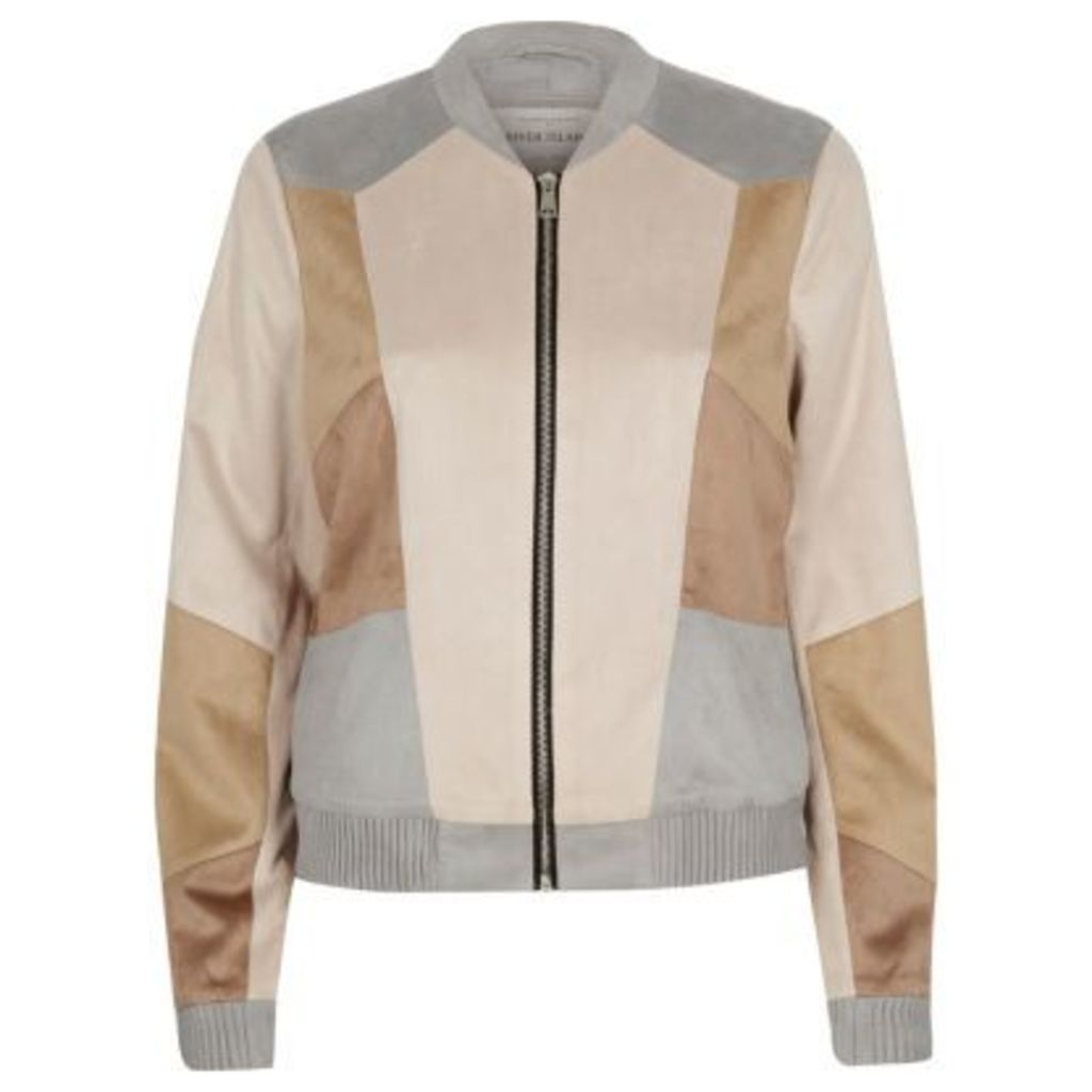 River Island Womens Grey patchwork bomber jacket