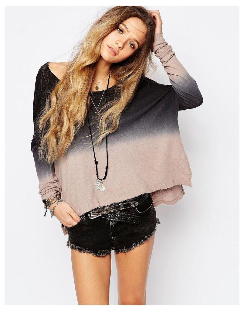 Free People Starry Night Tie Dye Longsleeve T-Shirt - Taupe/onyx