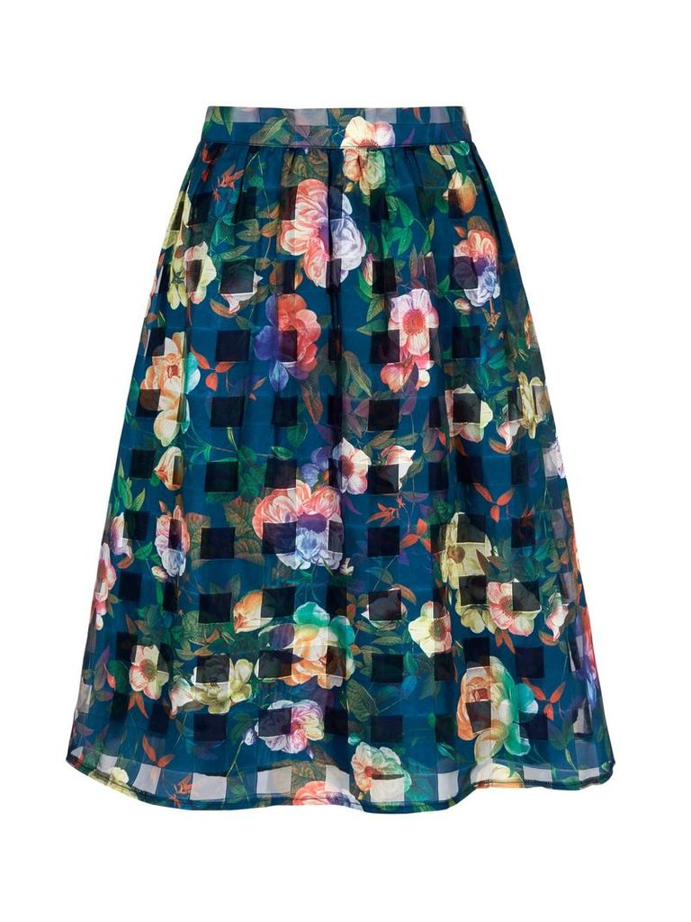 Yumi Floral Check Print Midi Skirt, Navy