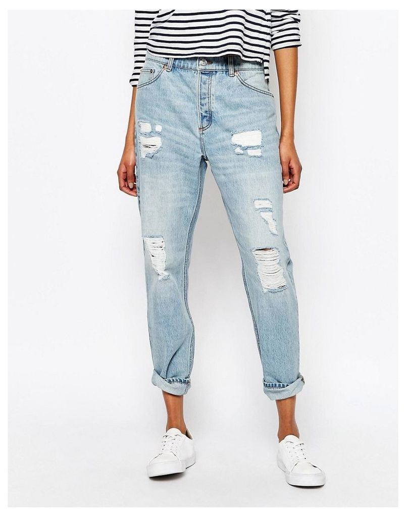 Monki Distressed Washed Boyfriend Jeans - Distorted