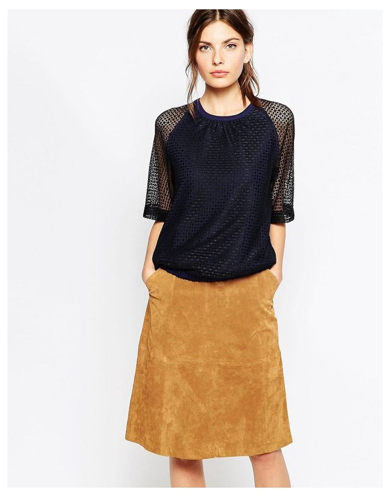 See By Chloe Jersey And Lace Mix Top - Blue
