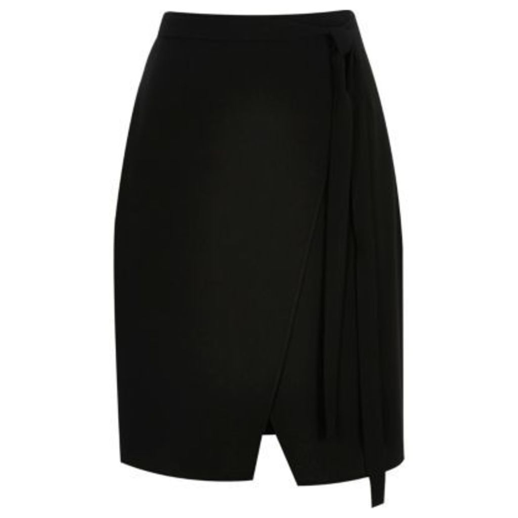 River Island Womens Black wrap tie midi skirt