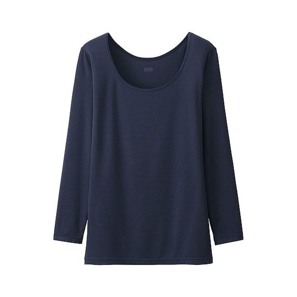 Uniqlo WOMEN HEATTECH Scoop Neck T-Shirt (7 colours) NAVY