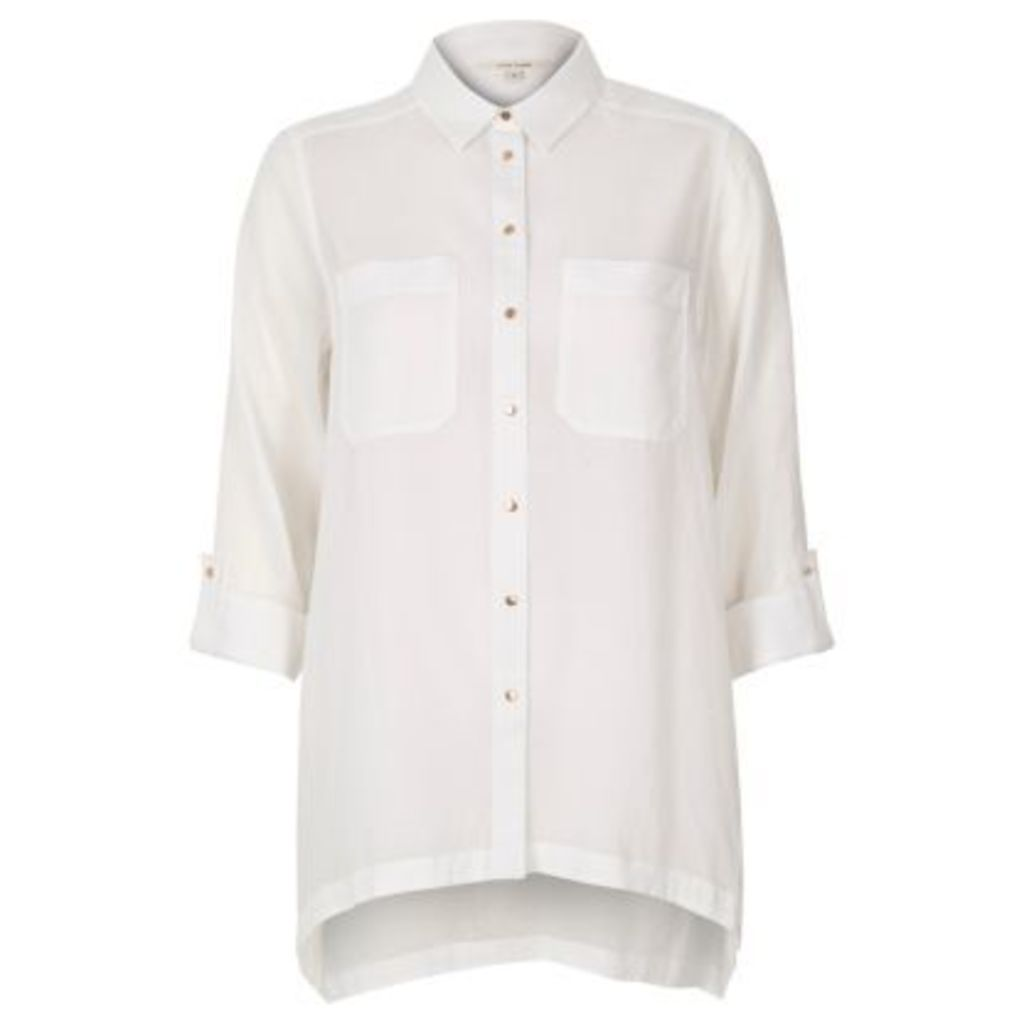 River Island Womens White hanky hem shirt