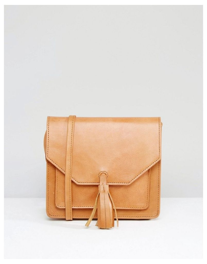 ASOS Leather Cross Body Bag With Tassel - Tan