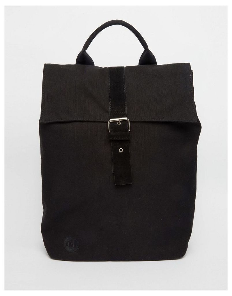 Mi-Pac Canvas Roll Top Backpack in Black - Black