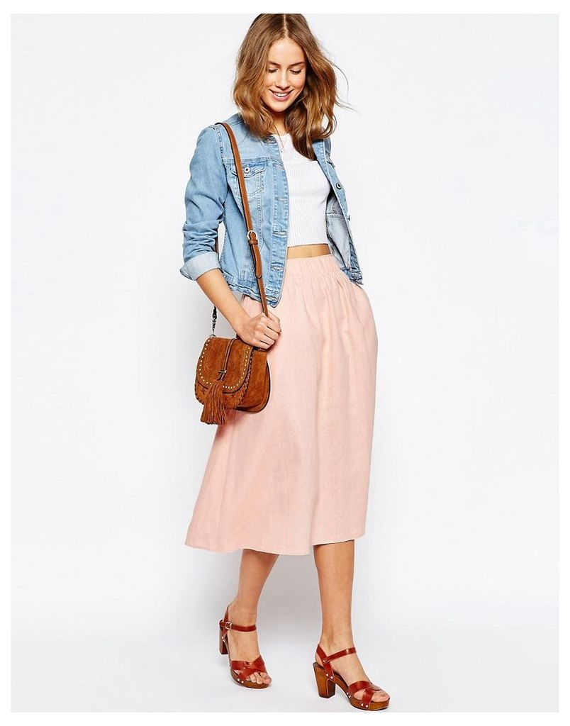 ASOS Full Midi Skirt in Linen - Nude