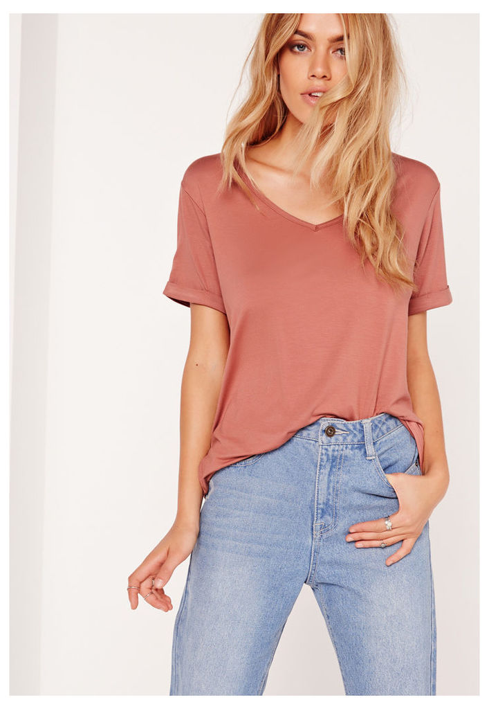 Boyfriend V-Neck T-Shirt Pink, Red