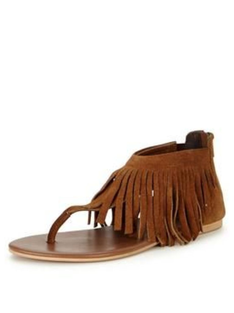 V By Very Victory Fringed Toe Post Sandal