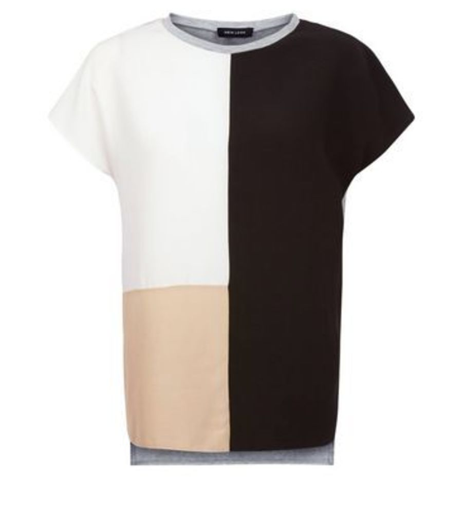 Grey Colour Block Short Sleeve T-Shirt