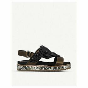 Kurt Geiger London Bumble floral-embellished satin sandals, Women's, Size: EUR 35 / 2 UK WOMEN, Khaki