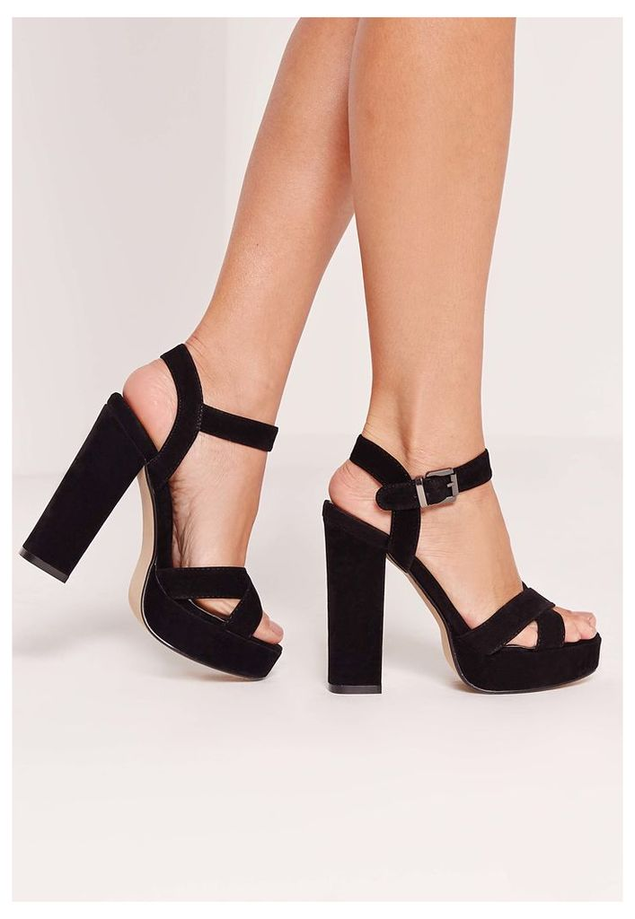 Cross Strap Platform Heeled Sandal Black, Black