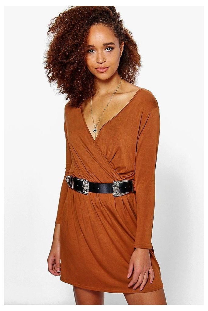 Wrap Front Long Sleeve Skater Dress tan