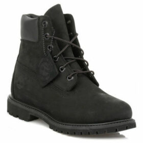 Timberland  Womens 6 Inch Premium Black Nubuck Leather Boots  women's Mid Boots in Black