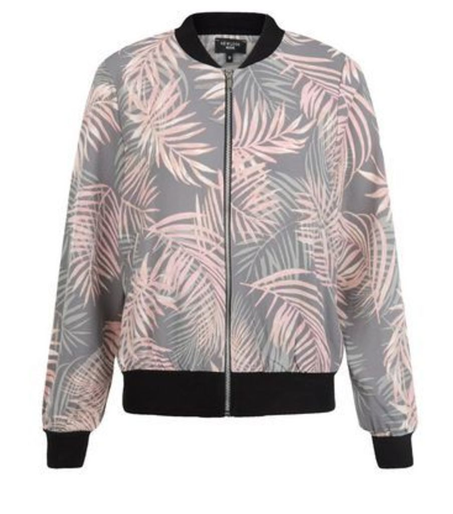 Petite Grey Tropical Print Bomber Jacket