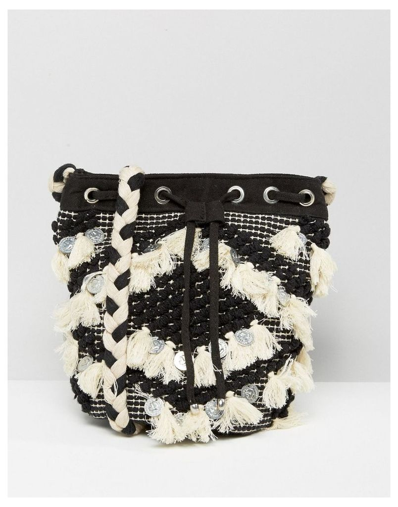 Pimkie Embellished Tassel Duffle Bag - Black and white