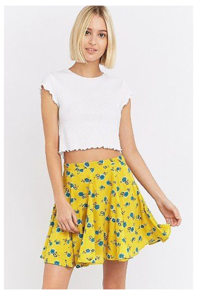Kimchi Blue Fiona Flirty Floral Yellow Mini Circle Skirt, Yellow