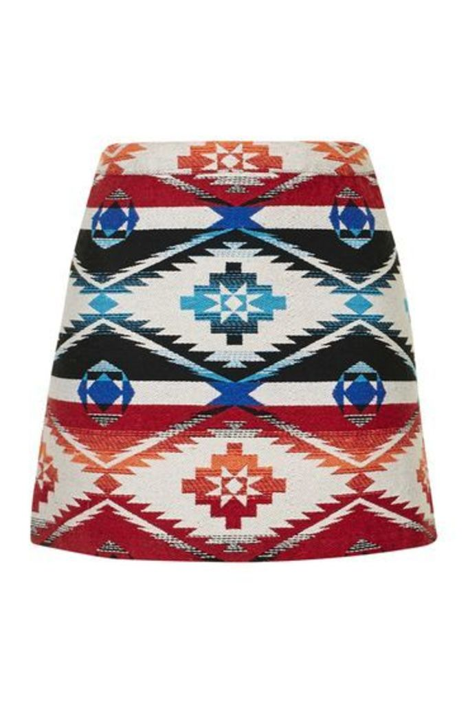 Womens Printed Jacquard A-Line Skirt - Multi, Multi