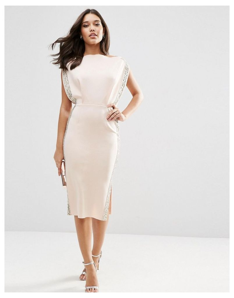 ASOS Embellished Trim Open Top Midi Bodycon Dress - Nude