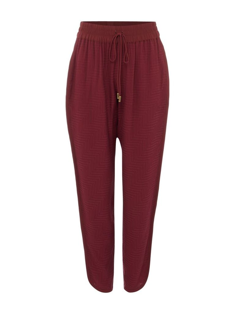 Biba Textured luxe loose trousers, Berry