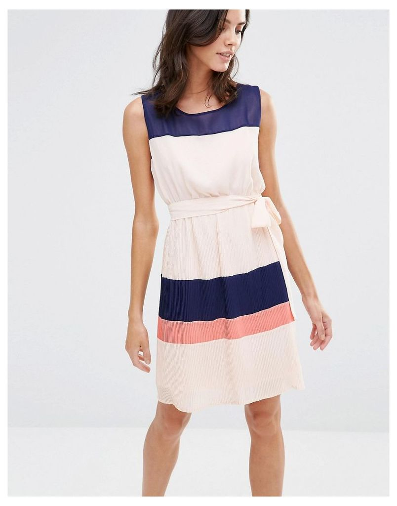 Pussycat London Colourblock Dress - Peach