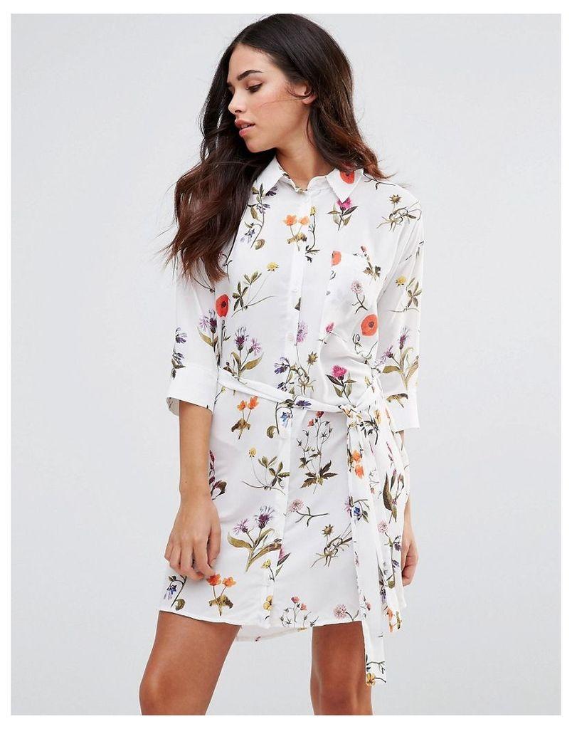 Oh My Love Tie Waist Shirt Dress - Summer botanical