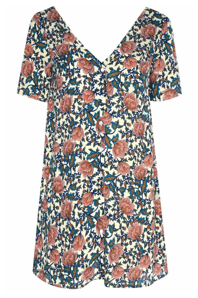 Petite Pink Vintage Floral Print Smock Dress