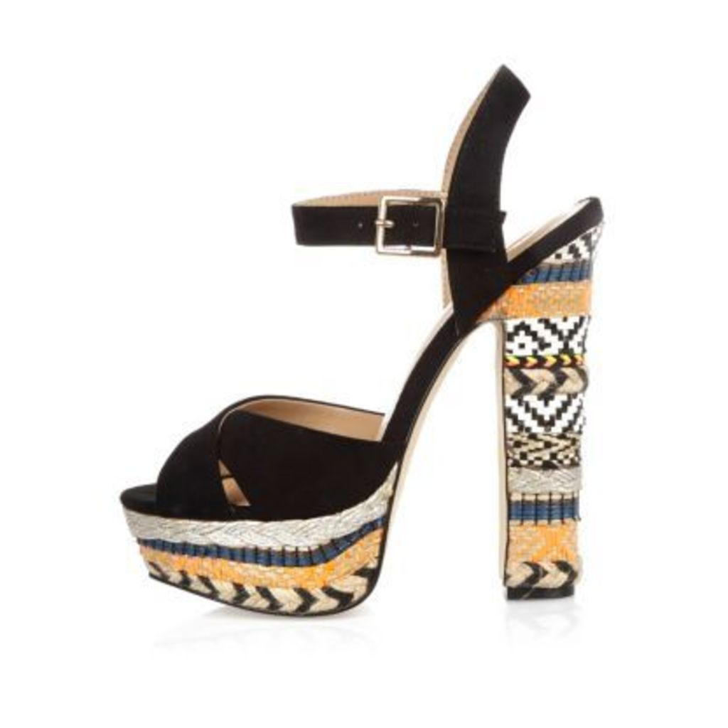 River Island Womens Blacks print suede platform heels