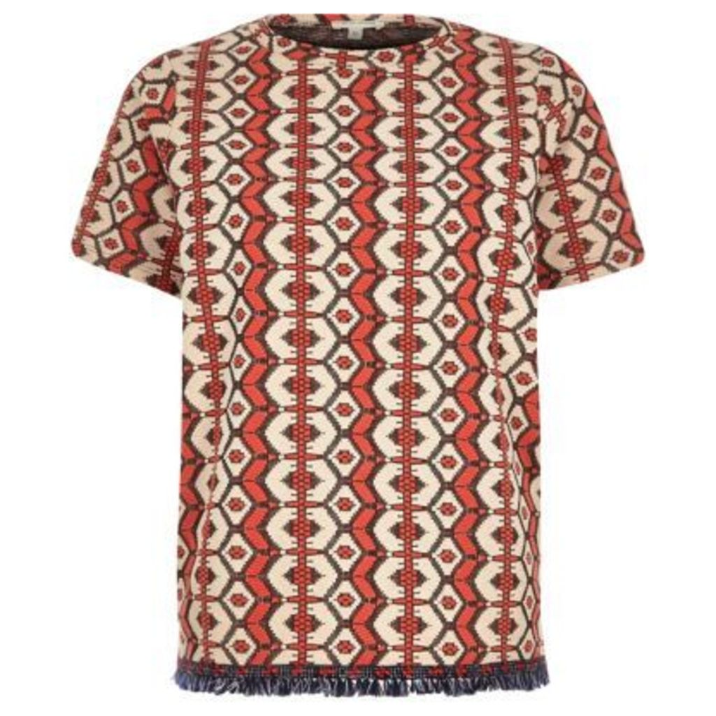 River Island Womens Red printed jacquard tassel t-shirt