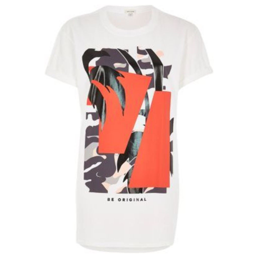River Island Womens White print boyfriend fit t-shirt